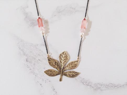 Horse chestnut leaf necklace, brass + pink gemstones