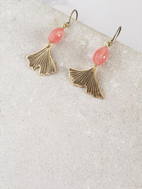 Ginkgo Biloba earrings, brass and pink glass