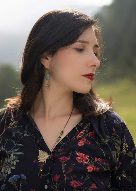 English Oak earrings, Silver Birch necklace