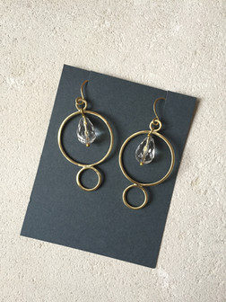 Double circle earrings, brass + crystal quartz