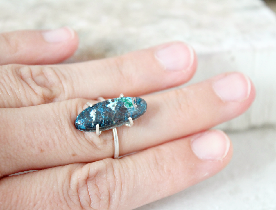 Chrysocolla ring, sterling silver