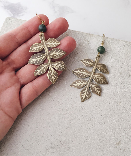 Ash leaf twig earrings, brass and green jasper