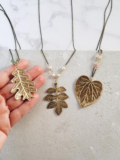 Big leaf necklaces, brass