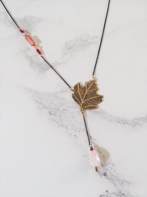 Sycamore leaf necklace, brass + pink gemstones