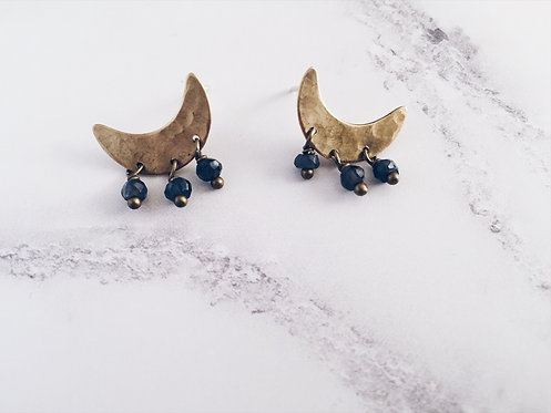 Crescent moon post earrings, brass and blue iolite gemstones