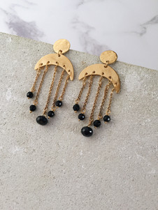 22kt gold plated moon earrings, black onyx and spinel