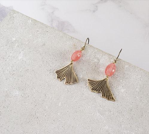 Ginkgo biloba earrings, brass and pink beads