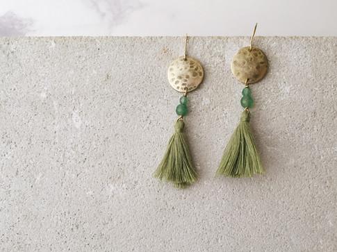 Full Moon green tassel earrings-2.jpg