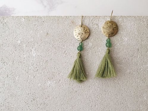 Full moon tassel earrings, olive green tassel earrings, green aventurine
