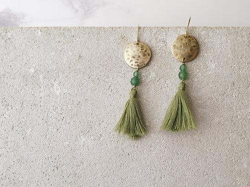 Full moon tassel earrings, olive green tassel earrings, green aventurine