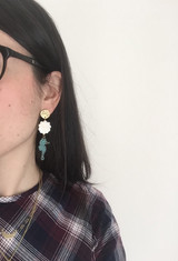 Brass, shell and seahorse earrings