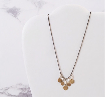 Pearls and brass disc necklace, Alma Series