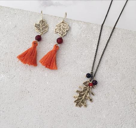 Sycamore leaf tassel earrings, English Oak necklace