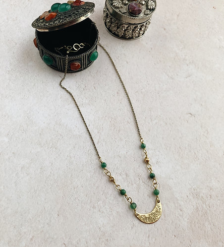 Simple crescent moon necklace, brass and green african jade