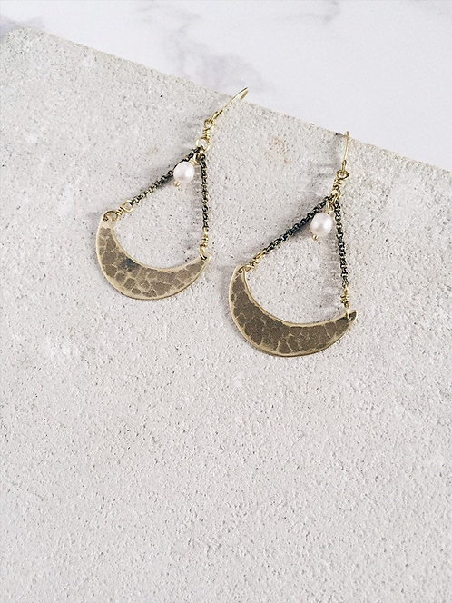 Crescent moon earrings, gold brass & white freshwater pearls