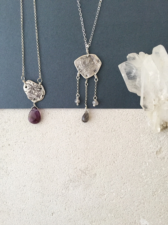 Enchanted pendants: reticulated silver, labradorite and amethyst