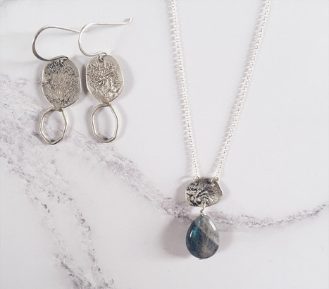 Sterling silver jewelry set, earth nature inspired