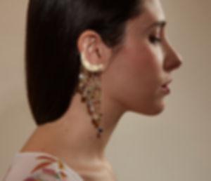 Milky Way maxi single earring, cascade cuff earring