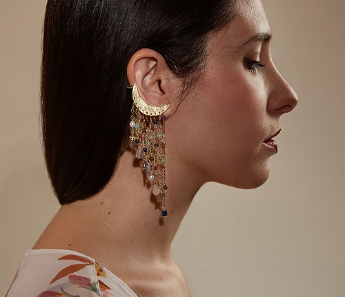 Milky Way maxi single earring, cascade cuff earring