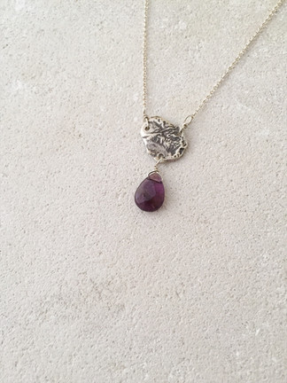 Reticulated silver pendant + amethyst