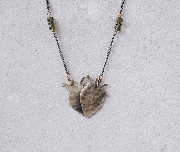 Double heart necklace, human anatomy