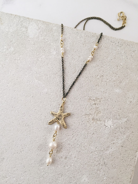Starfish necklace, brass and natural freshwater pearls