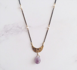 Tiny crescent moon necklace, amethyst & pearls