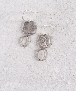 Sterling silver full-empty earrings, nature inspiration
