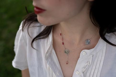Sycamore leaf necklace, sterling silver, pink gemstones