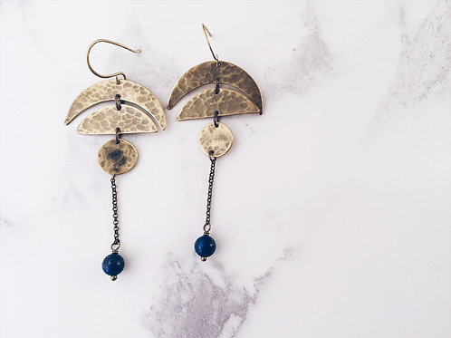 Moon phases earrings in brass and lapis lazuli, gold & blue long dangle earrings