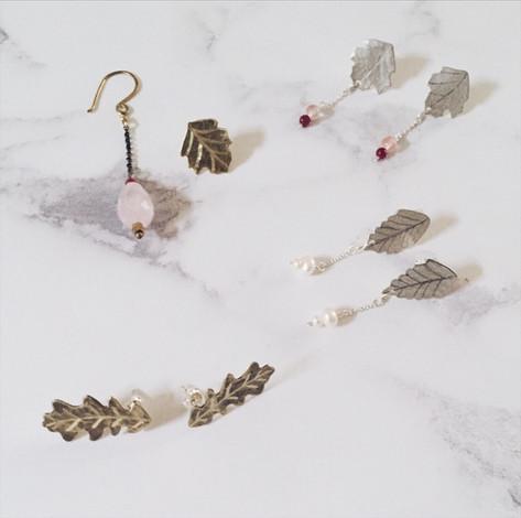Leaf earrings, brass, silver, gemstones