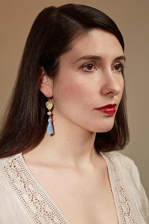 Baby blue tassel earrings, freshwater pearls, arrow head earrings, gold and blue
