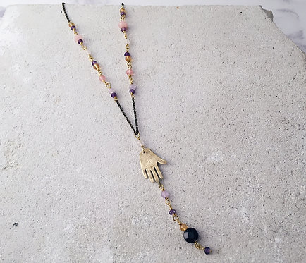 Hand rosary necklace, amethyst, rose quartz, citrine, hand amulet