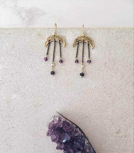 Crescent moon chandelier earrings, gold brass and amethyst purple labradorite