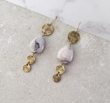 Rock's Soul earrings, brass, crazy lace agate
