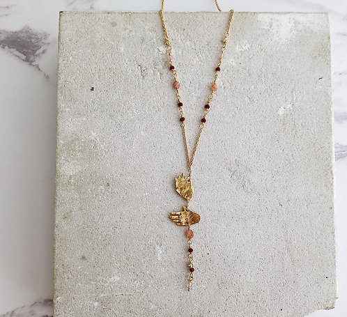 My heart in my hand necklace, gold and pink, simple brass or 22kt gold plated