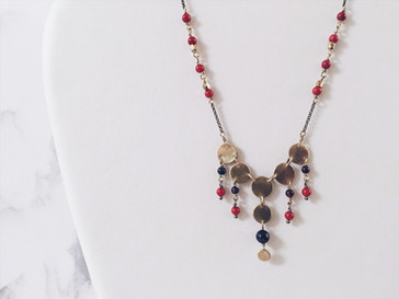 Red gemstones and brass coin necklace, Alma Series