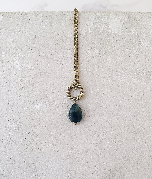 New moon simple necklace, twisted ring and african turquoise drop