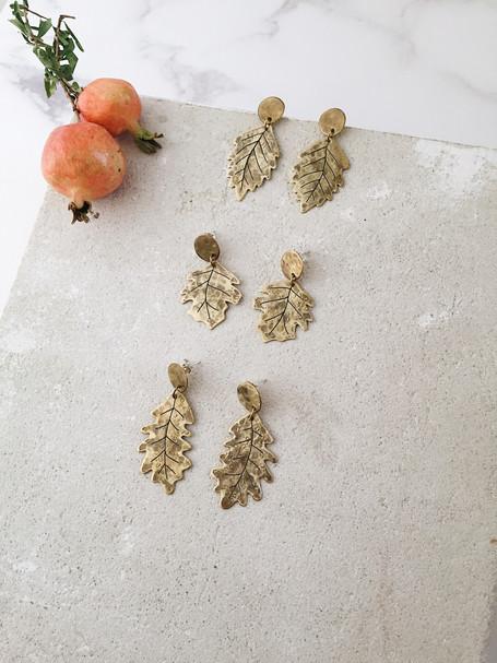 Brass leaf post earrings