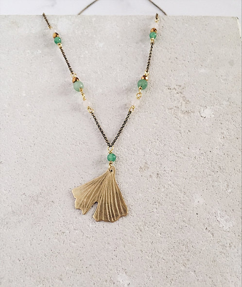 Ginkgo biloba necklace, brass leaf, green and rose beads
