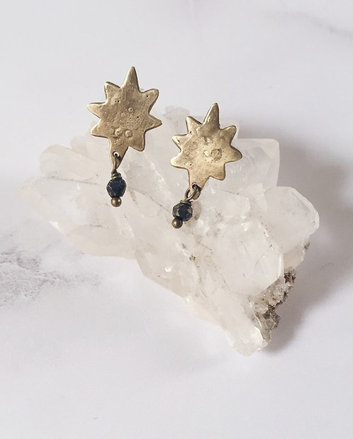 Northern Star simple post earrings, brass and pyrite gemstones