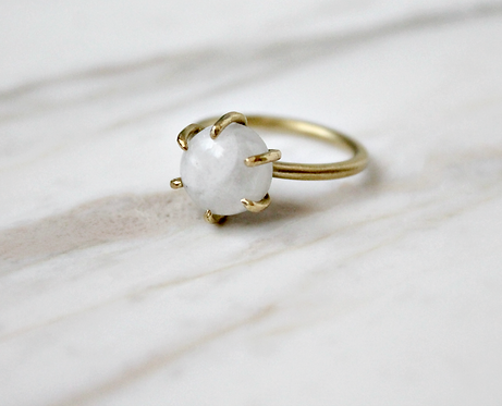 Round rainbow moonstone brass ring, gold and white gemstone