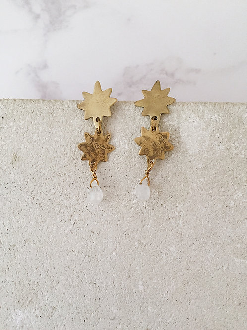 Double Stars post earrings, brass and white labradorite