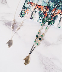 Silver and brass hand amulet necklaces
