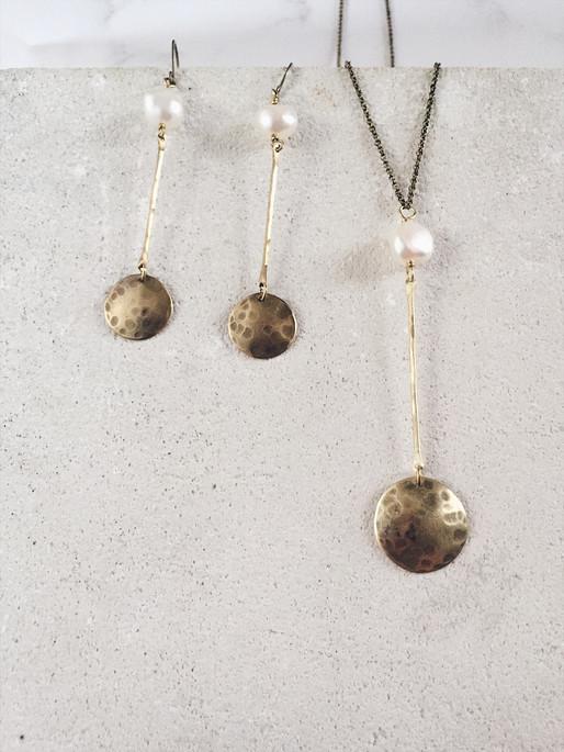 Full moon earrings + necklace