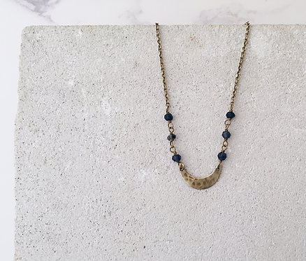 Crescent moon simple necklace, gold brass blue iolite beads, stacking necklace