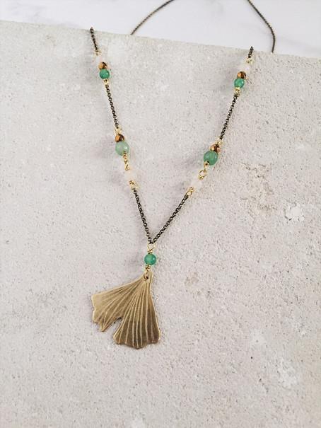 Ginkgo Biloba necklace, brass rose quartz green aventurine