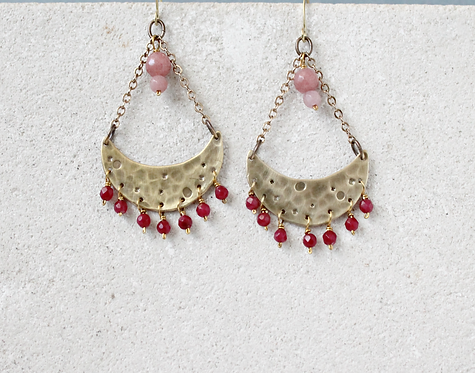 Frida style crescent moon chandelier earrings, pink gemstones and gold brass