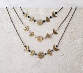 Moon phases necklaces, 5 lunar phases