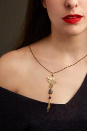 River Flow necklace - brass, iolite, sodalite, blue goldstone
